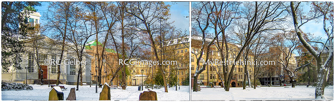 Helsinki's Old Church Park & buildings surrounding it. ALL photos and images © R.C. Gelber. All Rights Reserved.