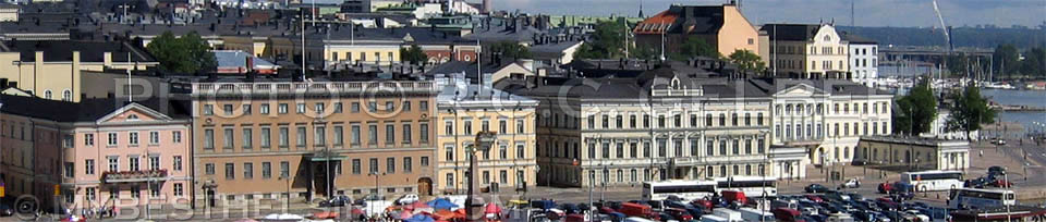 Helsinki Pohjoisesplanadi buildings. Presidential palace far right. - All photos © RC Gelber. All rights reserved.