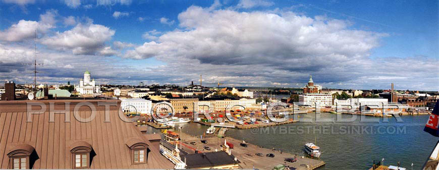 View from Palace Bar Terrace, toward the Market Square & Katajanokka. Photo & pop-up photo © R.C. Candolin-Gelber 1999 - 2011 -