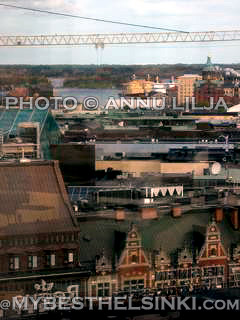 Torni View over Helsinki Center -to North Harbor Tug Boats & Uspenski Cathedral.