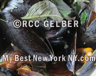 Mussels in lemongrass, chili coconyt & Thai Basil broth. Spice Market, NY